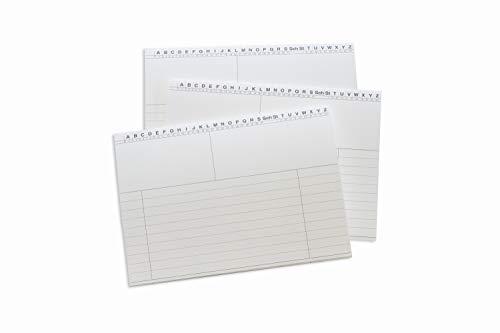 100 Neutrale Karteikarten, bedruckt, liniert, DIN A5, aus 190g/m² Spezialkarton, Farbe: Weiß