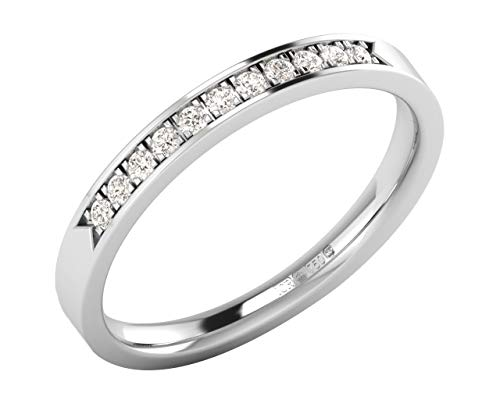0.15 Ct Pave Set Round Brilliant Cut Diamond Half Eternity Ring in 9K White Gold