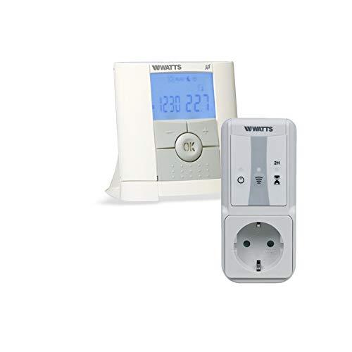 Watts Vision - Termostato digital programable para el hogar + 1 enchufe receptor