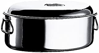 Mepra 35 cm Stainless Steel Oval Casserole with Lid, Silver