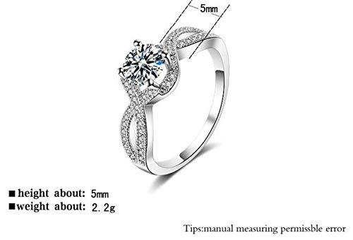 Thumby Fashion Zilveren Ring Europa en Amerika Creatieve Sieraden met Diamanten Ring Vrouwelijke Sieraden, Zirkoon, Klassiek, Verloving, Platte Ring, Klauw Set, Geometrie, Platina geplateerd, US 8