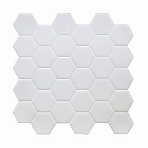 HyFanStr Abziehen und Aufkleben Wandfliesen Backsplash für Küche, selbstklebend, wasserdicht, weiß, 3D-Fliesenaufkleber für Badezimmer, U-Bahnfliesen, Spritzschutz (4 Stück)
