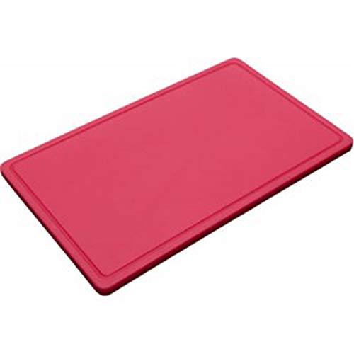 METRO Professional Schneidebrett | 53 x 32,5 x 2 cm | feuchtigkeitsabweisend | Polyethylen | spülmaschinengeeignet | HACCP | Schneidplatte | Saftrille | auch für gewerblichen Einsatz (Rot)