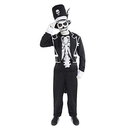 ORION COSTUMES Costume da uomo travestimento da Halloween con scheletro e cappello a cilindro