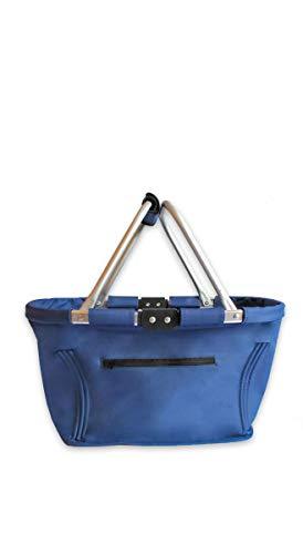 Projects Cesta de la compra plegable, grande, estable, con pies, cesta plegable de Maxline, azul, 48,5 x 28 x 28 cm, cesta de transporte con asa, cesta de la compra para hombre y mujer