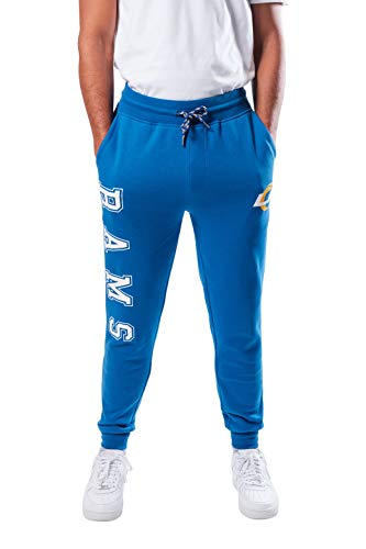 Ultra Game NFL Los Angeles Rams Mens Active Basic Jogger Fleece Pants, Team Color Stripe, Small