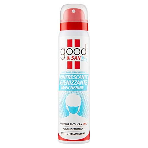 Good & San Mask, Spray Igienizzante Rinfrescante Mascherine, Disinfettante per Mascherina, Contiene Alcool al 75%, Azzurro, al Profumo di Menta, 100 ml