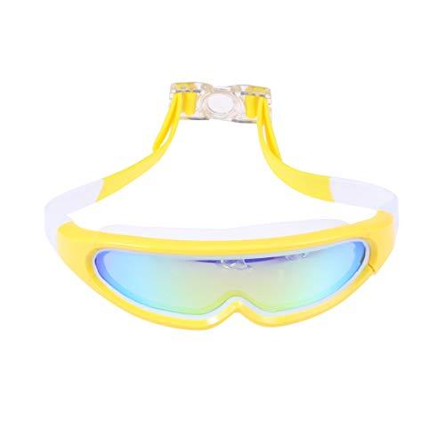 Abaodam Gafas de natación anchas para niños para marco suave y grande, sin fugas, cómodas, antiempañamiento con desecante para niñas y niños (blanco y amarillo)