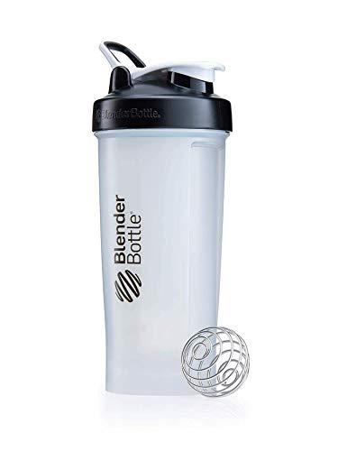 BlenderBottle Pro45 Shaker mit BlenderBall, optimal geeignet als Eiweiß Shaker, Protein Shaker, Wasserflasche, Trinkflasche, BPA frei, skaliert bis 1000 ml, Kapazität 1300ml, schwarz transparent