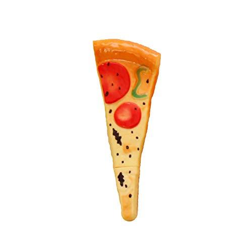 iTemer, 1 penna a sfera e magnete per frigorifero, 2 in 1, design a forma di pizza da 0,5 mm, colore nero incluso e adesivo creativo per frigorifero – Penna a sfera media ricaricabile