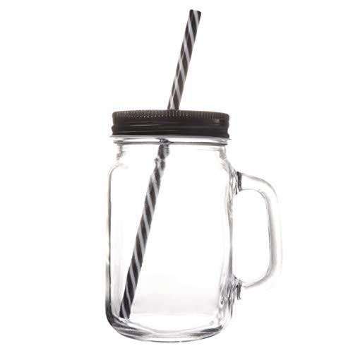 YARNOW Botellas de cristal de 500 ml, con tapa, asa y pajita, tarro de jardín, vintage, retro, color negro
