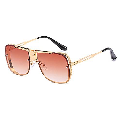 Gosunfly Gafas de sol de doble haz de metal para hombre, gafas de sol con montura dorada, té degradado
