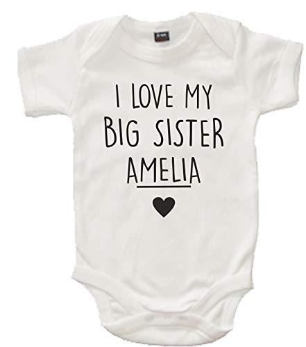 Edward Sinclair Body de bebé personalizado con el nombre «I Love My Big Sister»