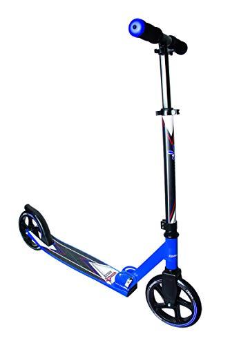 muuwmi Aluminium Scooter – Tretroller, 205 mm, ABEC 7, für Kinder und Erwachsene, GS geprüft, höhenverstellbar, blau