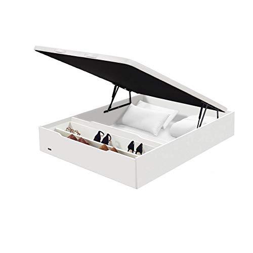 Flex - Canapé Abatible Madera 25 con Zapatero y Tapa con Tejido 3D de Flex - 150x200cm, Blanco, No