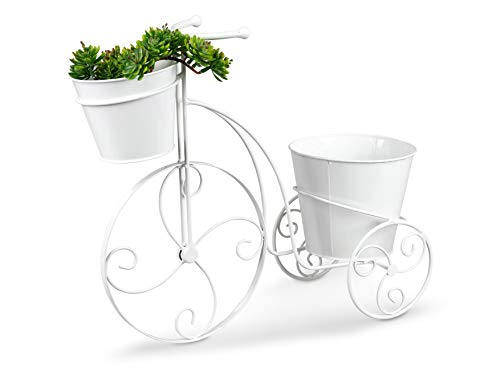 Lifestyle & More - Elegante supporto per piante a forma di bicicletta, in metallo, con 2 cestini, 48 x 19 x 40 cm, colore: Bianco