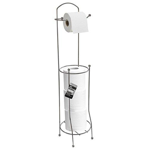Support chromé pour papier toilette 3 + 1 - Support autonome en acier inoxydable - Meuble de rangement pour salle de bain, finition argentée - Pieds anti-rayures