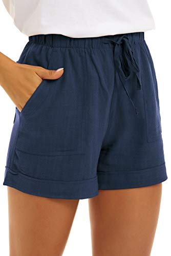 KINGFEN Shorts for Women Ladies Comfy Pull On Shorts Women 5 Inch Inseam Casual Summer Beach Lightweight Drawstring Elastic Waist Linen Short with Pockets Dark Blue Medium