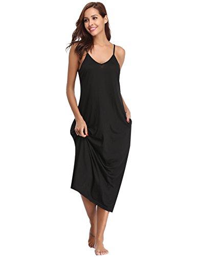Abollria Vestidos Mujer Verano Algodon Playa Camisón Casuales sin Manga con Bolsillo Falda Larga