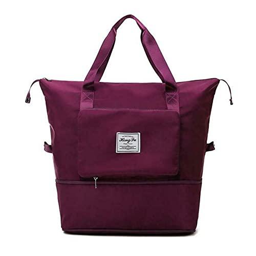 Borsa da viaggio pieghevole di grande capacità, borsa a tracolla per la separazione di asciutto e bagnato, borsa da viaggio leggera e impermeabile pieghevole per il trasporto dei bagagli (Viola scuro)