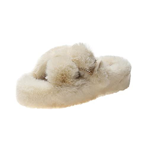 Unisex Antideslizantes Pantufla de algodón,El otoño e Invierno de Gran tamaño Aumenta Las Zapatillas de algodón, Zapatillas de Pelo Cruzadas Gruesas-Beige_40,Zapatillas de Estar por Casa para Niñas