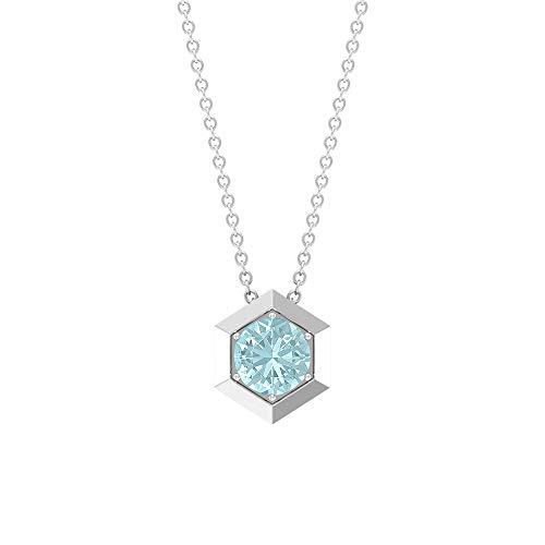 Rosec Jewels 10 quilates oro rosa redonda Blue Topacio azul - Cielo