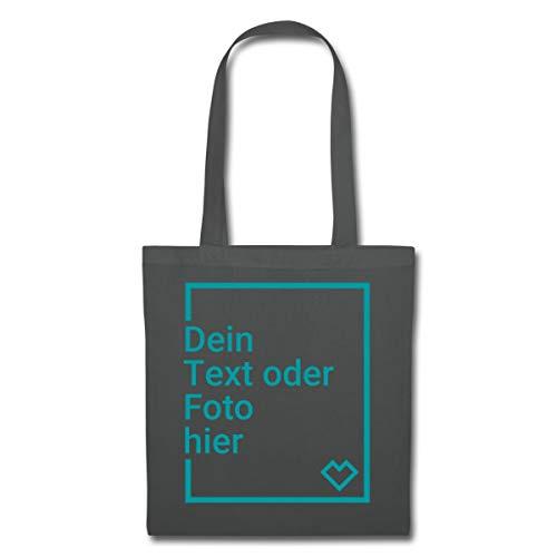 Spreadshirt Personalisierbarer Beutel Selbst Gestalten mit Foto und Text Wunschmotiv Stoffbeutel, Graphite