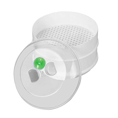 Qinghengyong Placa de plástico Vapor del Horno microondas de alimento Cocción de Almacenamiento microondas vaporera Horno de Caja de la Cocina envase de alimento con Tapa