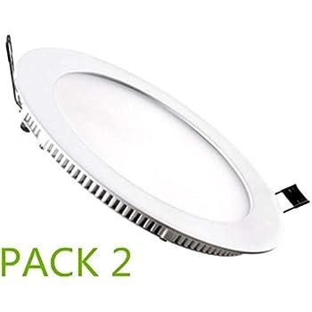 Placa LED Circular SuperSlim 12W (Pack 2) Downlight LED Blanco Frío 6000k-6500k ONSSI LED: Amazon.es: Iluminación