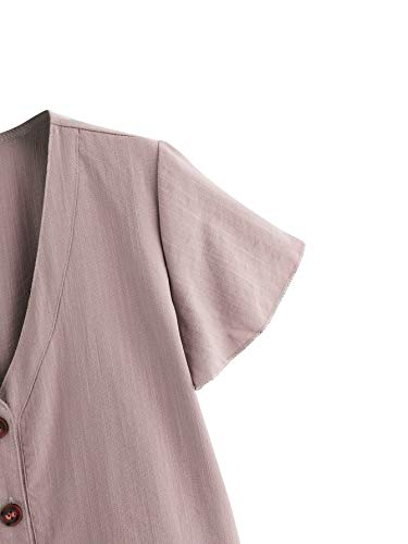 Verdusa Women's Casual V Neck Single Breasted Ruffle Hem Peplum Blouse Tops Light Purple S