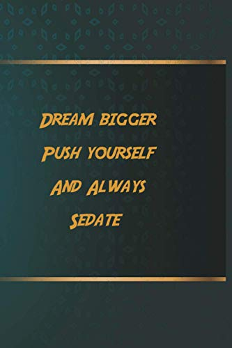 Dream bigger Push yourself And Always Sedate: Notebook Gift Idea, 6.9 inches,120 pages, Day Planner Motivation To Do List For Sedate