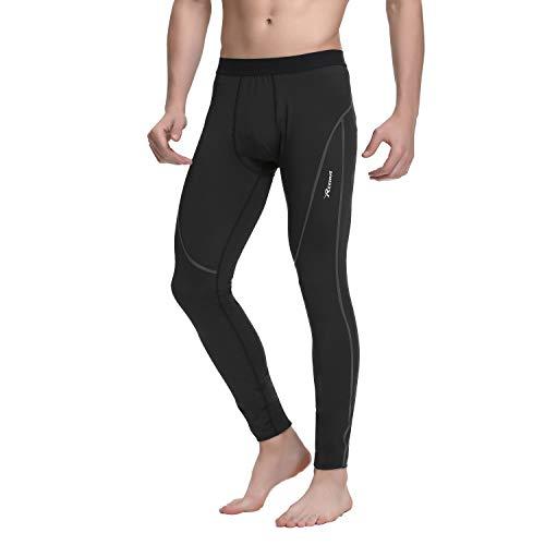 REEHUT Mallas Running Hombre, Leggins Largas Elásticos Transpirables Secado Rápido, Pantalones Deportivos para Ciclismo Correr (Raya Gris) - 3XL