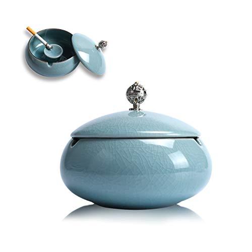KATELUO Keramik Aschenbecher mit Deckel, Windaschenbecher für Draußen und Innen, Aschenbecher für Balkon/Terrasse/Zuhause/Büro Dekoration (hellblau)
