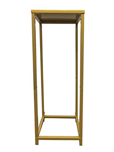 Koyal Wholesale Modern Flower Stand, Metal Floral Pedestal Stand for Wedding Centerpieces, Suitable for Indoor Outdoor Party, Simple Square Pillar Design for Vases (Gold, 29 x 10-Inch)