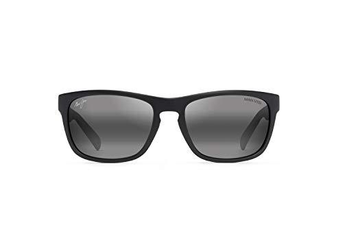 Maui Jim South Swell Square Gafas de sol, negro (Negro mate con hule negro Utd/gris neutro polarizado), Medium