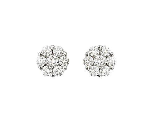 NICOLS 14710010 - Pendientes Dormilona Rosetón Oro Blanco (18kt) formados cada uno por siete Diamantes y con un peso total de todos los diamantes de 0.50 Ct