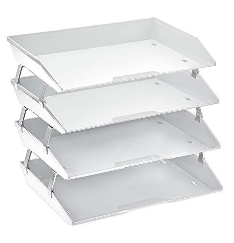 Acrimet Facility Bandeja Portadocumentos de 4 Niveles para Cartas (Organizador de Archivos de Prima Plástico) (Color Blanco)