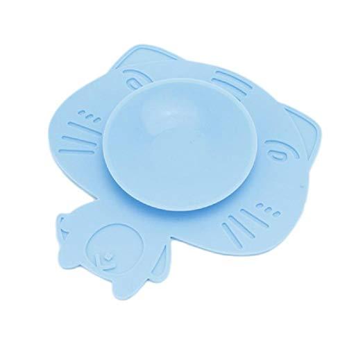 xiahe Plato para niños tazón de silicona de succión Plato de silicona con Ventosa Antideslizante Vajilla Mantel individual (amarillo)