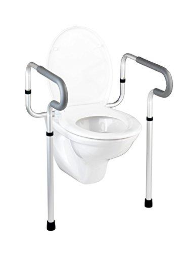 WENKO WC-Stützhilfe Secura, 5-fach höhenverstellbare Aufstehhilfe mit rutschfesten Gummifüßen, praktische Hilfe im Bad für notwendigen Halt, leichte Montage, 55,5 x 71-81,5 x 48 cm, Aluminium rostfrei