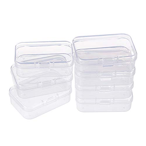 BENECREAT 18-Pack-Rechteck Kunststoff-Aufbewahrungskoffer aus transparentem Kunststoff mit Klappdeckeln für Kleinteile, Pillen, Kräuter, kleine Perlen, Jewerlry-Ergebnisse (6,4 x 4,4 x 2 cm)