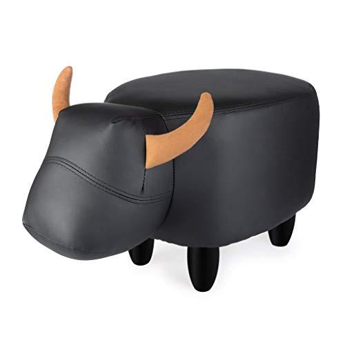 Balvi Sgabello La Vache Colore Nero A Forma di Mucca Game in Legno Finta Pelle/Legno