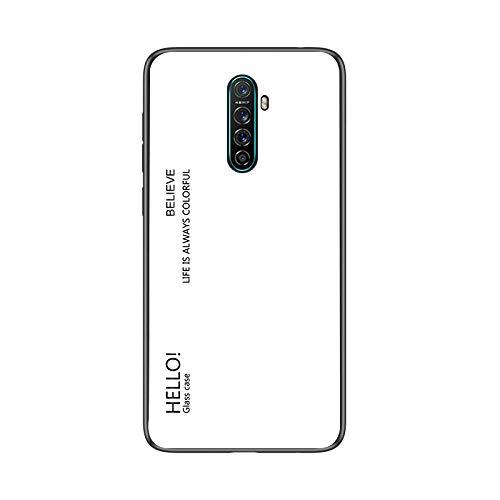 SHIEID Hülle für Oppo Realme X2 Pro Hülle,Gradient Klarglas Gehärtetem Glas Handyhülle Hülle Handyhülle für Oppo Realme X2 Pro (Weiß)