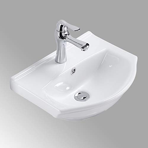 Small Wall Mount White Bathroom Sink Single Faucet Hole And...