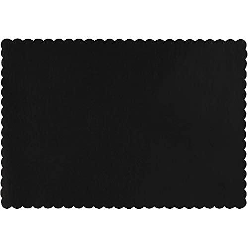 Juvale Tischsets (Set, 100 Stück) – Aus Papier, Einweg-Tischsets mit gewelltem Rand - Geburtstagsparty-Zubehör, Party-Dekoration - Schwarz, 35,6 x 25,4 cm