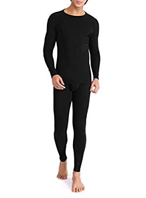 DAVID ARCHY Men's Ultra Soft Warm Stretchy Cotton Fleece Lined Base Layer Top & Bottom Thermal Set Long John with Fly (L, Black)