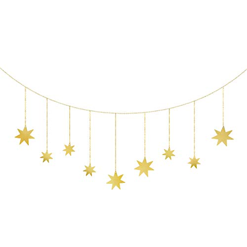 Mkono Wall Hanging Decor Star Garland Metal Boho Home Decoration for Wedding Home Office Nursery Room Bedroom Dorm,Gold