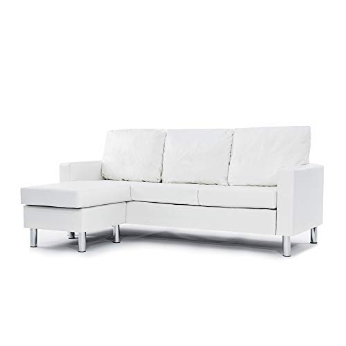 Casa Andrea Milano LLC Modern Sectional Sofa-Reversible Chaise Lounge Perfect for Small Space Dorm or Apartment, White Leather