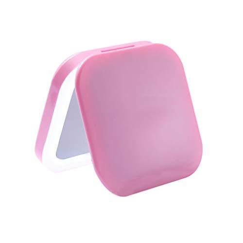 Miroir de Maquillage- Miroir de Toilette portatif avec lumière LED, lumière d'appoint pour agrandir Le Miroir Pliant (Couleur : Pink)