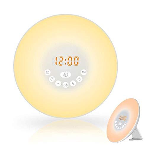Dersoy Wake Up Light Despertador Luz, Simulación del Amanecer y Anochecer Luz LED,7 Luces de Colores, 10 Niveles de Brillo, Función Snooze, 6 Sonidos Naturales, Radio FM