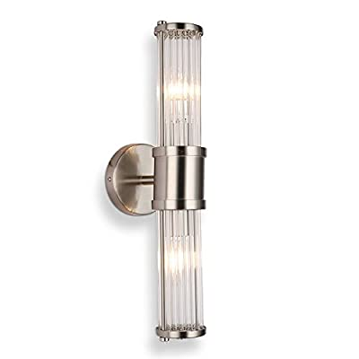 Industrial Wall Sconce Brushed Nickel Bathroom Light Fixtures, ECOBRT Indoor Glass Bath Vanity Lights for Mirror Sconces Lamps Up and Down Wall Mounted Lighting E12 Socket